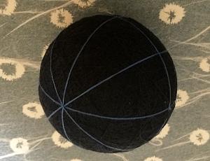 temari o palla di filo base con meridiani e paralleli