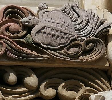 tartaruga e onde particolare facciata residenza Honhaga