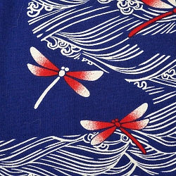 libellule rosse e onde stilizzate su fondo blu