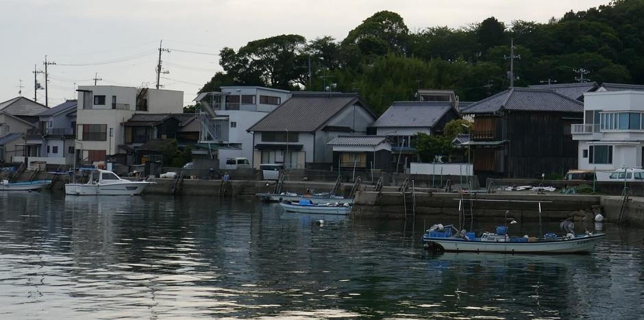 Costa con case e barche sul mare di sera